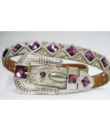 S M L  BRINDLE HAIR LEATHER purple DIAMOND RHINESTONE BUCKLE WESTERN COW... - $94.04