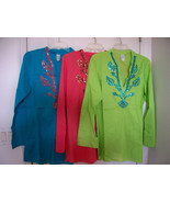 Ret$69 M MEDIUM Boho COTTON  TUNIC PULLOVER SHIRT TOP CHOICE OF 1 Cover ... - $34.64
