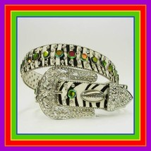 S M L XL Zebra Rainbow LEATHER HAIR RHINESTONE WESTERN BUCKLE COWBOY GIR... - $69.29