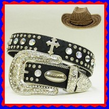 S M L XL Black Ostrich FRENCH CROSS RHINESTONE WESTERN BUCKLE COWBOY GIR... - $54.44