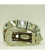 XS S M L or XL BROWN Belt Crystal PRISM CONCHO BUCKLE WESTERN COWBOY GIR... - $74.99