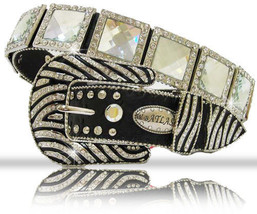 XS S M L or XL Crystal LG Sq Conchs Zebra Buckle Western COWBOY GIRL ATL... - $69.29