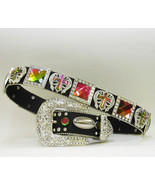 XS S M L or XL Rainbow Sq Wing Cross Concho Rhinestone Buckle Cowgirl Bo... - $79.99
