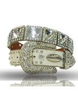XS  S M  or L  White SQUARE CRYSTAL PRISM CONCHO BUCKLE WESTERN COWBOY G... - $74.99