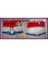 5 9 lei Ashley Western SW LowRise Tie Dye Denim Booty Shorts RED WHITE B... - $14.99