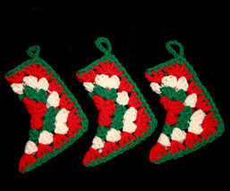 Set of 3 Handcrafted Crocheted Christmas Boot Ornaments - $18.98