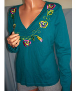 L Large 12 14 Blue Turquoise Embellished Tee T-Shirt Top Pullover Knit B... - $24.74