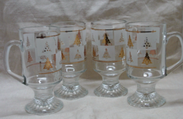 Vintage Culver Christmas Mugs - Four - signed - pattern GOLD SPRUCE -  - $25.00