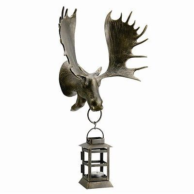 Moose Head Lantern Wall Mouted Candleholder Rustic Antler,Lodge Cabin Style,20''
