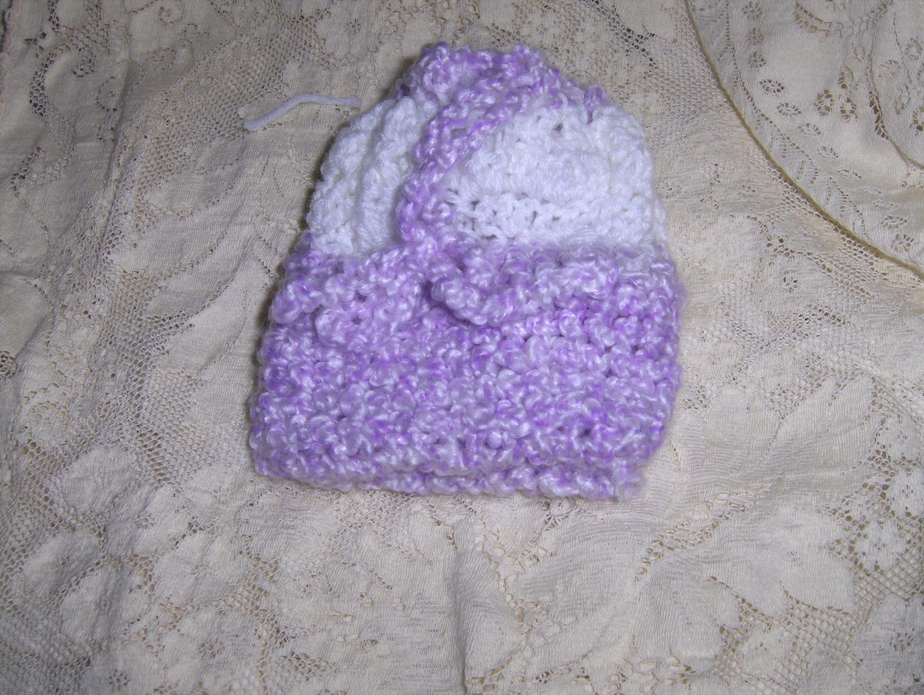Handmade Purple/White Crocheted Childs Purse/Doll Bassinet
