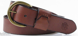 "*NEW Lauren Ralph D Buckle Logo 1.5"" Leather Belt Tan size M DD1415 - $24.25"