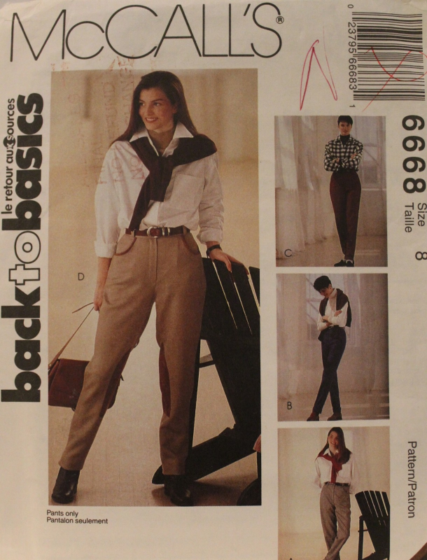 Misses Size 8 Tailored Pants Optional Stirrups Sewing Pattern McCalls 6668 UNCUT McCall's