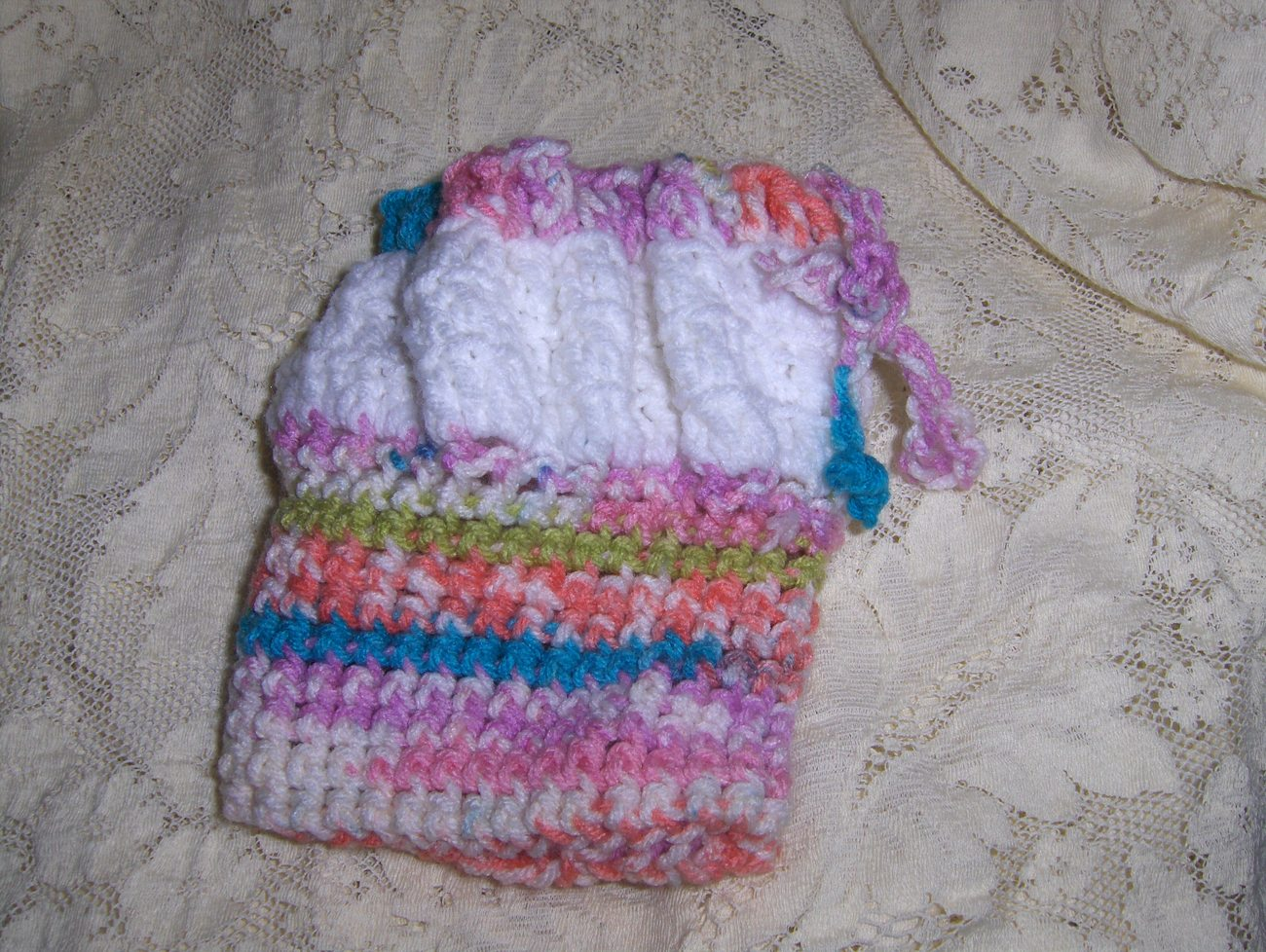 Handmade Multicolored Crocheted Childs Purse/Doll Bassinet