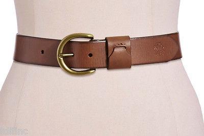 "*NEW Lauren Ralph D Buckle Logo 1.5"" Leather Belt Tan size M DD1415"