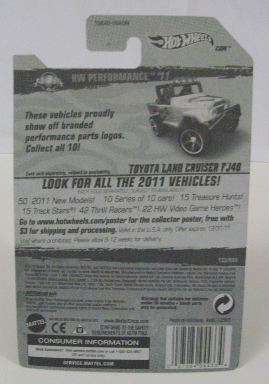 Hot Wheels HW Performance '11 white Toyota Land Cruiser FJ40 jeep car - New