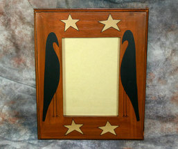 Country Primitive Wooden Photo Frame with Stars and Black Crows 5x7 - $12.98