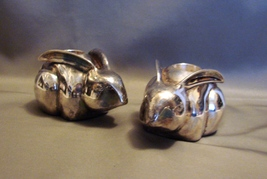 "Silver-Plated ""Rabbit~ Easter Bunny"" Taper Candle Holders from the Pottery Barn. - $7.00"