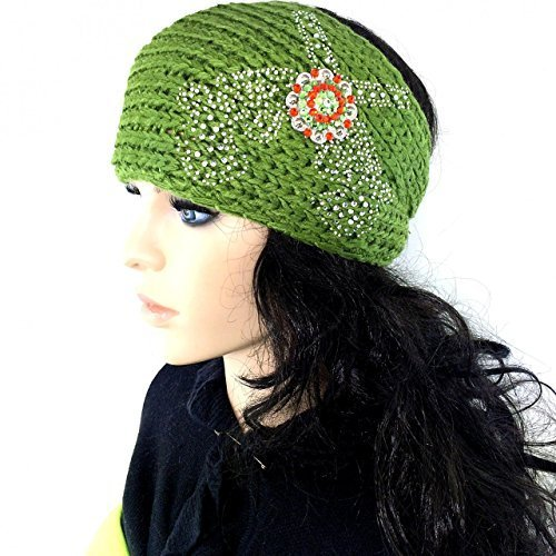 Knit Winter Headband Head Wrap w/ Western Pistols and Rhinestone Concho Ear Warm