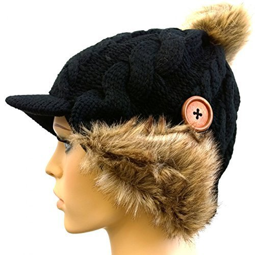 Stylish Winter Knit Hat with Faux Fur and Button Accent (Black)