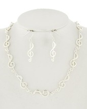 Fashion Musical Note Necklace and Pierced Earrings In Silver Tone EP0006 - $16.99