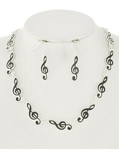 Fashion Musical Note Necklace and Pierced Earrings In Silver Tone EP0005 - $16.99