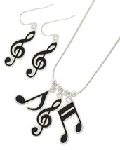 Fashion Musical Note Necklace and Pierced Earrings In Silver Tone Black Ena - $16.99