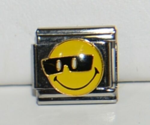 Casa Doro 9134 Smiley Face Cool Sunglasses Charm Link Stainless Steel