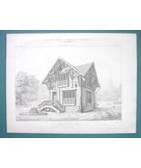 ARCHITECTURE 2 PRINTS 1869 - TYROL Wooden Cottage at Paris 1867 Exposition - $16.20