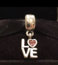 Authentic Pandora Love Pink CZ Dangle Charm Pandora Retired Charm Sterling Silve - $31.99