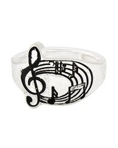Musical Note Silver Tone Stretch Ring With Black Enamel  - $10.00