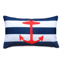 Pillow Decor - Red Anchor Nautical Throw Pillow 12x19 - £30.60 GBP