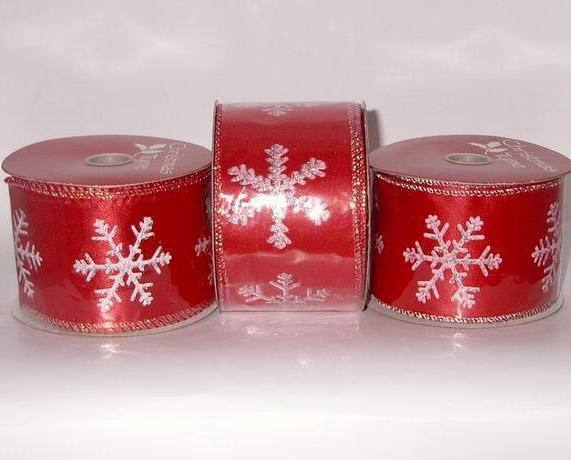 3 Red  White Snowflake Wire Edged Christmas Ribbon New