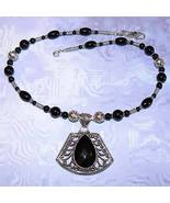 .925 Sterling Silver Black Onyx Necklace with Pendant OOAK - $110.00