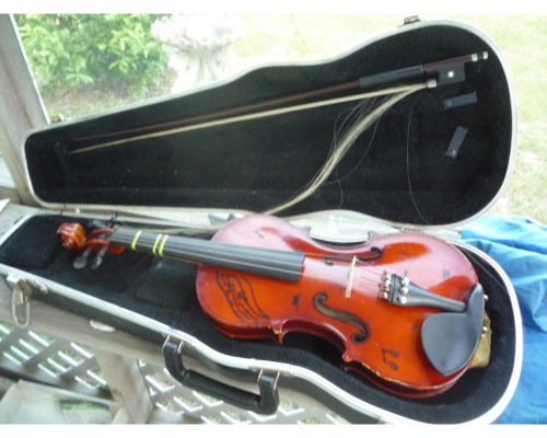 SCHERL & ROTH 1/2 VIOLIN MOD R270F2H GLASSER BOW & CASE SHARPIE WRITING 10/2000