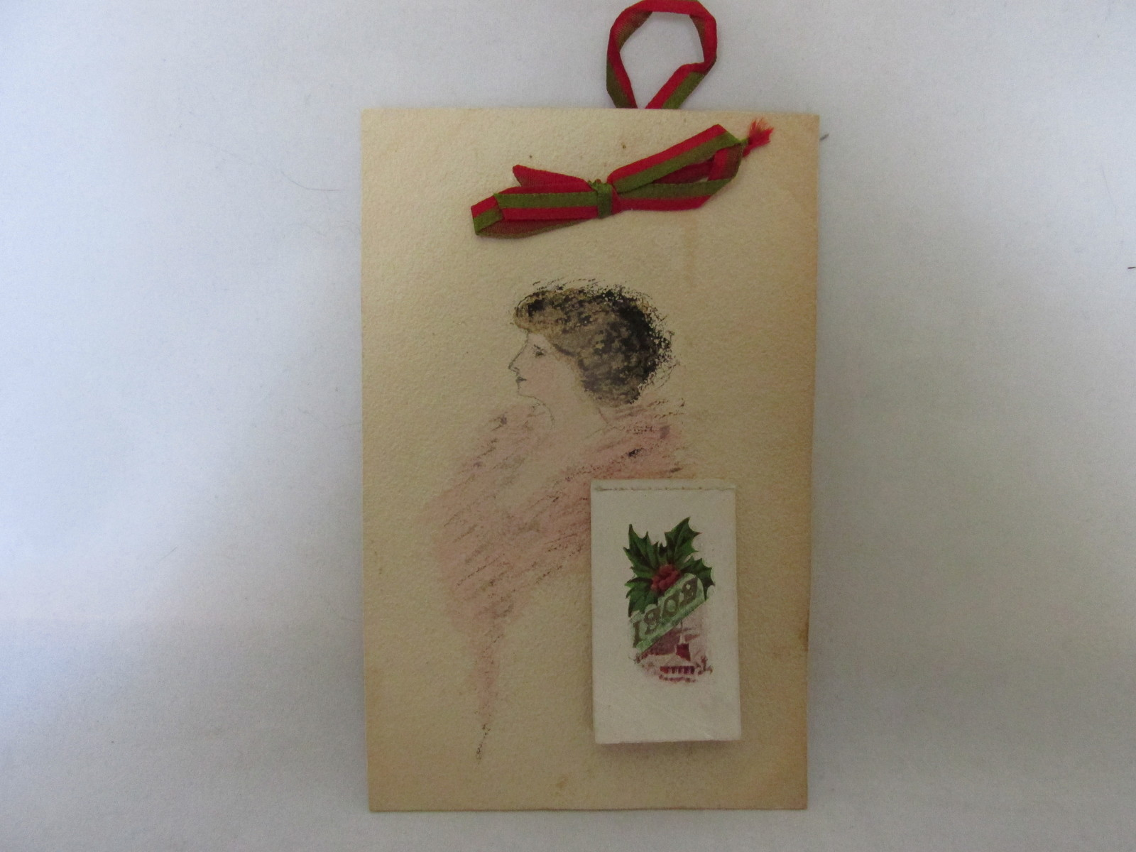 Antique Pen & Colored Ink Art Postcards with Attached 1909 Calendars and Ribbons