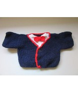 Vintage Hand Knit Teddy Bear Sweater Navy White Red Bowtie Fits Build A ... - $9.99