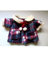Plaid Fleece Coat orJacket Fit Teddy Bear or Large Doll Thick Heavy Plus... - $23.00