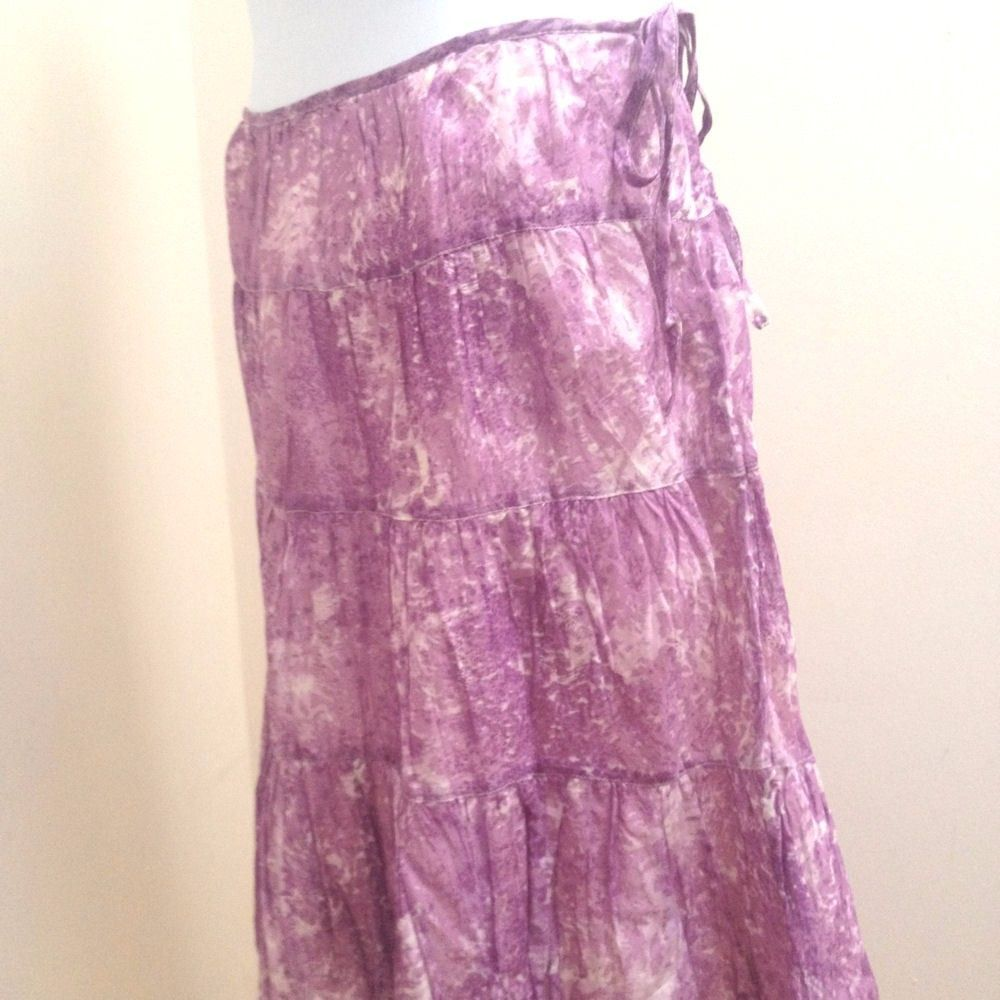 c8ded48c7c S l1600. S l1600. Previous. Talbots 10 Skirt Purple Abstract Watercolor A  Line Tiered Boho Peasant