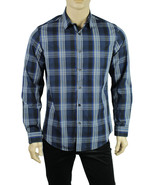 NEW MENS ALFANI RED SLIM FIT LONG SLEEVE BLUE PLAID BUTTON FRONT SHIRT M - $15.99