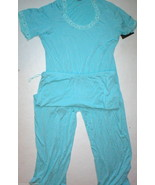 NWT New Designer Natori S Light Blue Lace Trimmed Pajamas PJ Modal Short... - $71.50