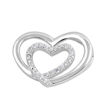 Sterling Silver CZ Heart pendant New d41 - $10.59