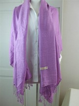 "Pashmina w Silk Shoulder Shawl Scarf Wrap Light Mauve w 3.5"" Fringe 28"" ... - $9.26"