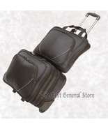 2pc Black Nylon Trolley Suitcase Carry On Overnight Business Laptop Comp... - $87.95