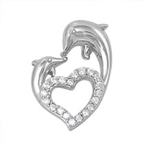 Sterling Silver CZ Dolphin pendant Heart love New d44 - $10.64