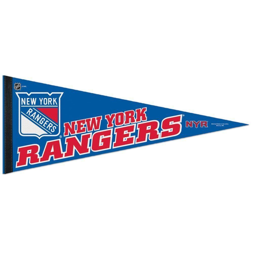 "2 BIG NEW YORK RANGERS TEAM FELT PENNANT 12""X 30"" NHL HOCKEY SHIPS FLAT !"