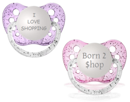 Girls Binky Set - I Love Shopping & Born To Shop Pacifiers - NUK - 6-18 ... - $12.99