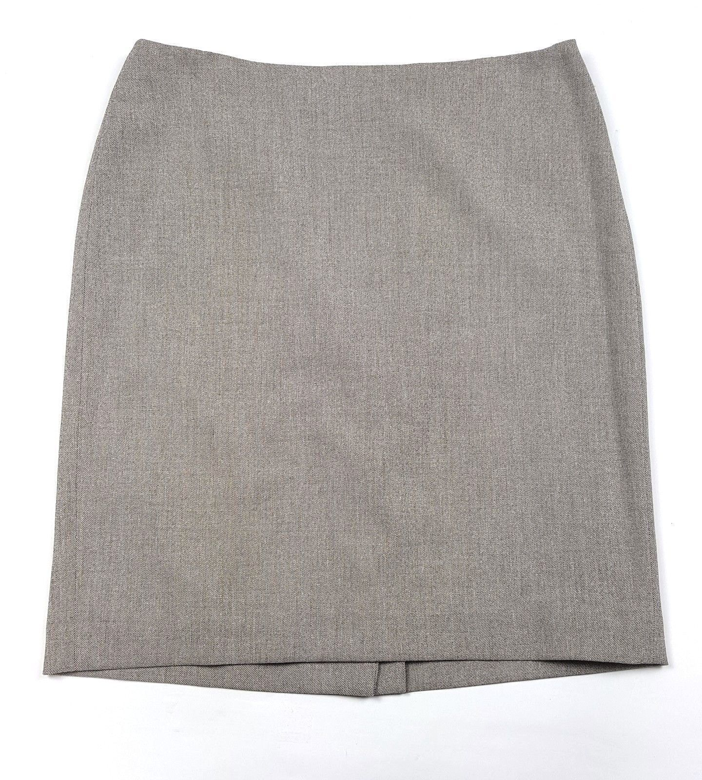 Anne Klein Women Size 10 Tan Lined Polyester Blend Back Zip Below Knee Skirt EUC