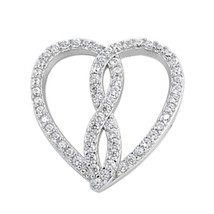 Sterling Silver CZ Infinity Heart pendant New d42 - $14.40