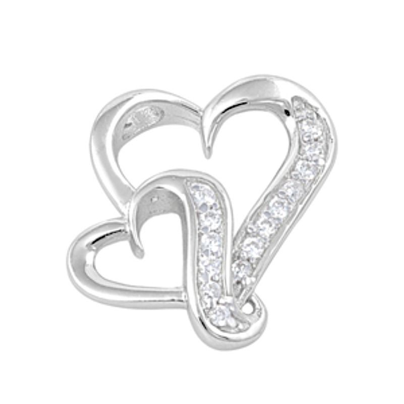 Sterling Silver CZ Heart pendant New d45 WORK IN PROGRESS - $11.59