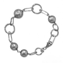 Women's Sterling Silver Oxidized Beaded Link Bracelet - $128.69
